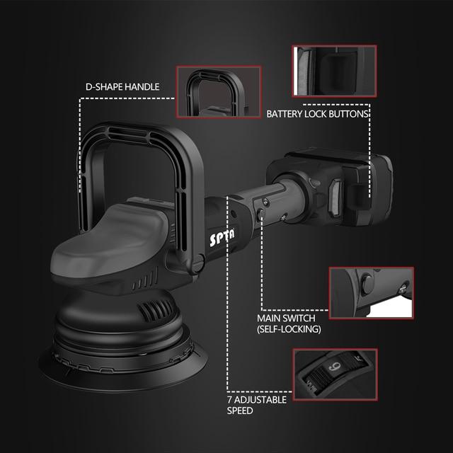 SPTA 18V Cordless Car Polisher 15mm Orbit 2000-4500rpm Variable Speed Polishing Machine With 2 4000Ahm Battery For Car Plishing 2