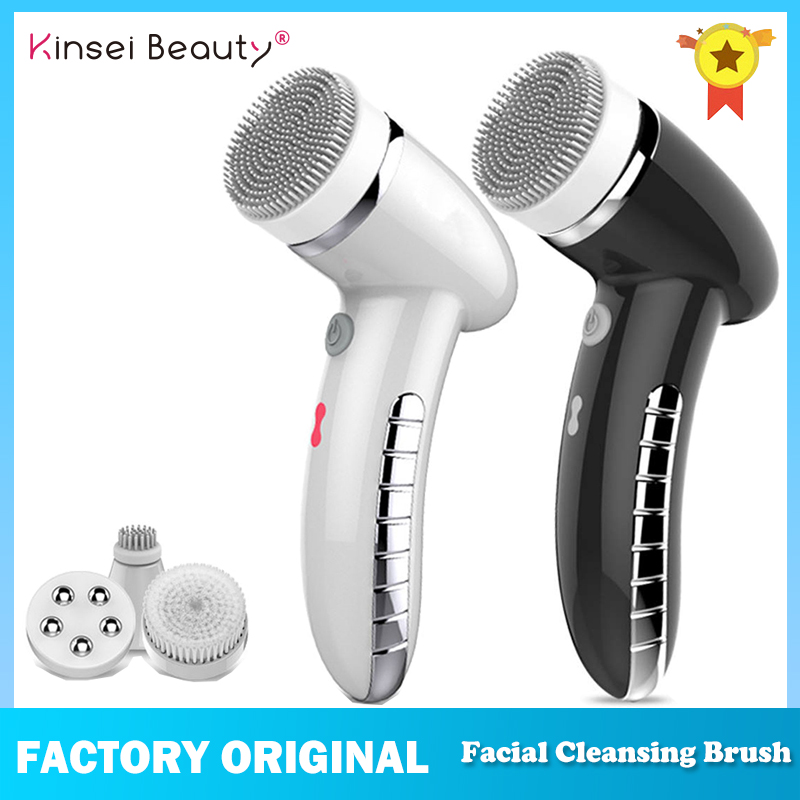 Electric Sonic  Facial Cleansing Brush Vibration Mini Face Cleaner Silicone Deep Pore Cleaning 4 IN 1 Face Massage Waterproof
