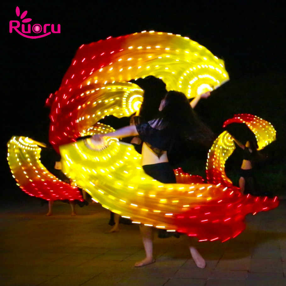 Ruoru 1pcs Fuoco Performance Carnevale Ventole 180 centimetri di Seta Danza Del Ventre LED led fan velo Danza Del Ventre Accessori A Mano led Fan Veli