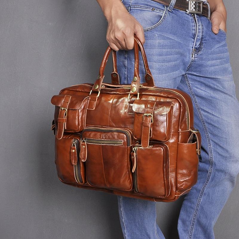 H67952eaff0314993adddc2f5359131777 Original leather Men Fashion Handbag Business Briefcase Commercia Document Laptop Case Design Male Attache Portfolio Bag 3061-bu