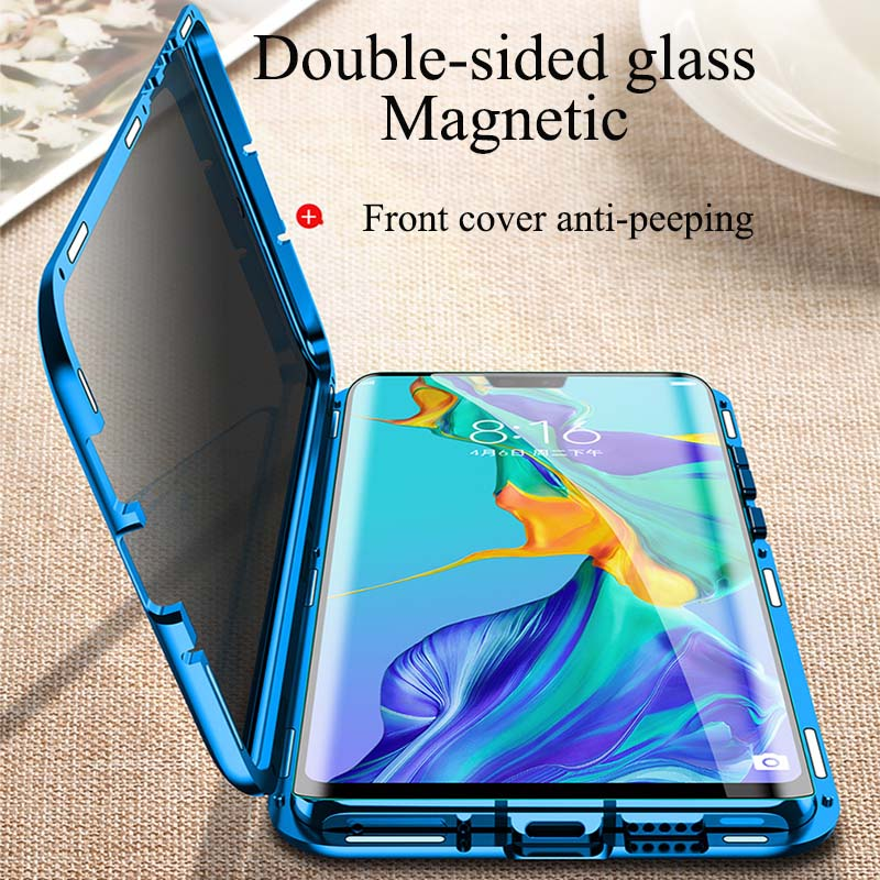 Privacy Magnetic Case For Huawei P30 P20 Pro Nova 4E 4 Nova 5 5i Pro Double Sided Tempered Glass Metal Anti-Peeping Case Cover