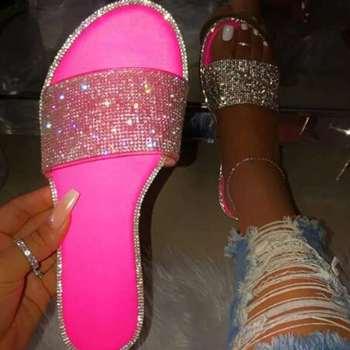 Summer Shoes Women Sandals 2020 Bling Flat Rhinestone Ladies Beach Sandles Designer Luxury Sandalias Mujer Sandels