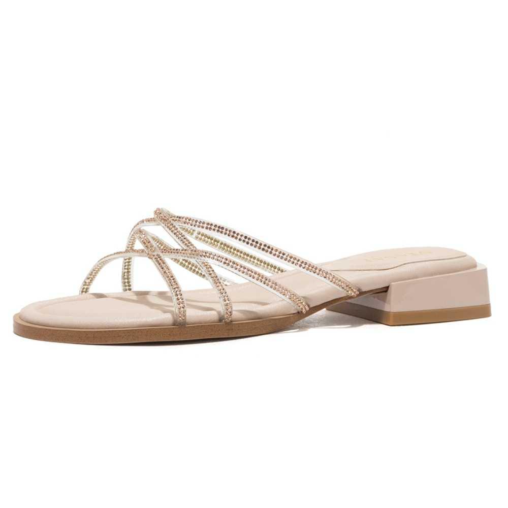 ST & SAT/женские босоножки; Однотонные элегантные шлепанцы на плоской подошве с ремешком на низком каблуке