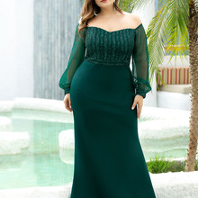Prom-Dresses Party-Gowns Sparkle Sequined Mermaid Ever Pretty Long Full-Sleeve Plus-Size