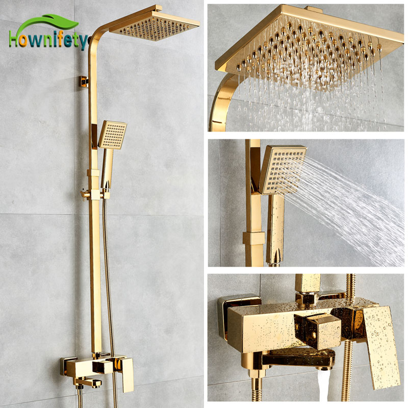 Bathtub Faucets Luxury Gold Brass Bathroom Faucet Mixer Tap Wall Mounted Hand Held Shower Head Kit Recommended Products Cards Carousel
