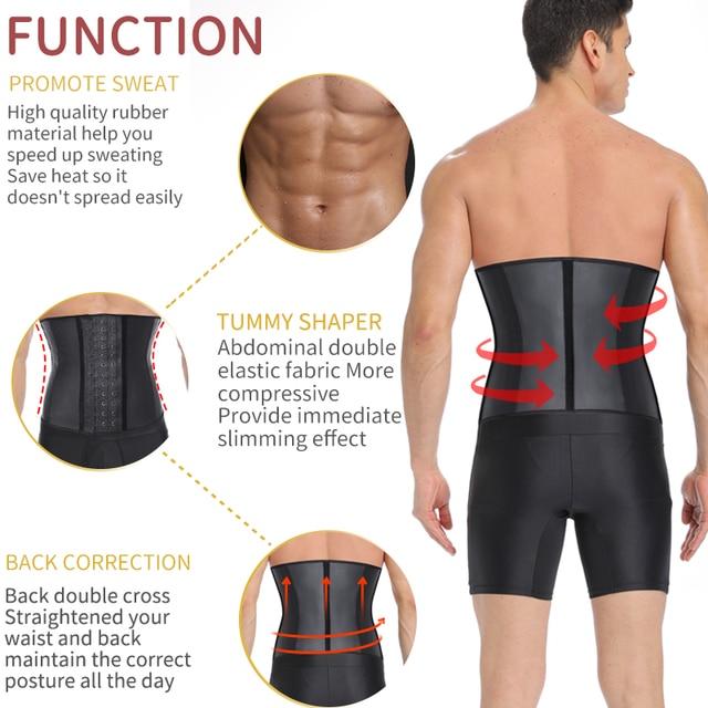 Mens Latex Waist Trainer Sweat Slim Modeling Belt Sauna Effect Belly Shapers Slimming Cincher Body Shaper Tummy Shapewear Corset 1