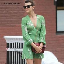 Short-Dress Flower-Print Green Woman Long-Sleeve Mini Deep-V-Neck Autumn Wheat-Ears Back-Zipper