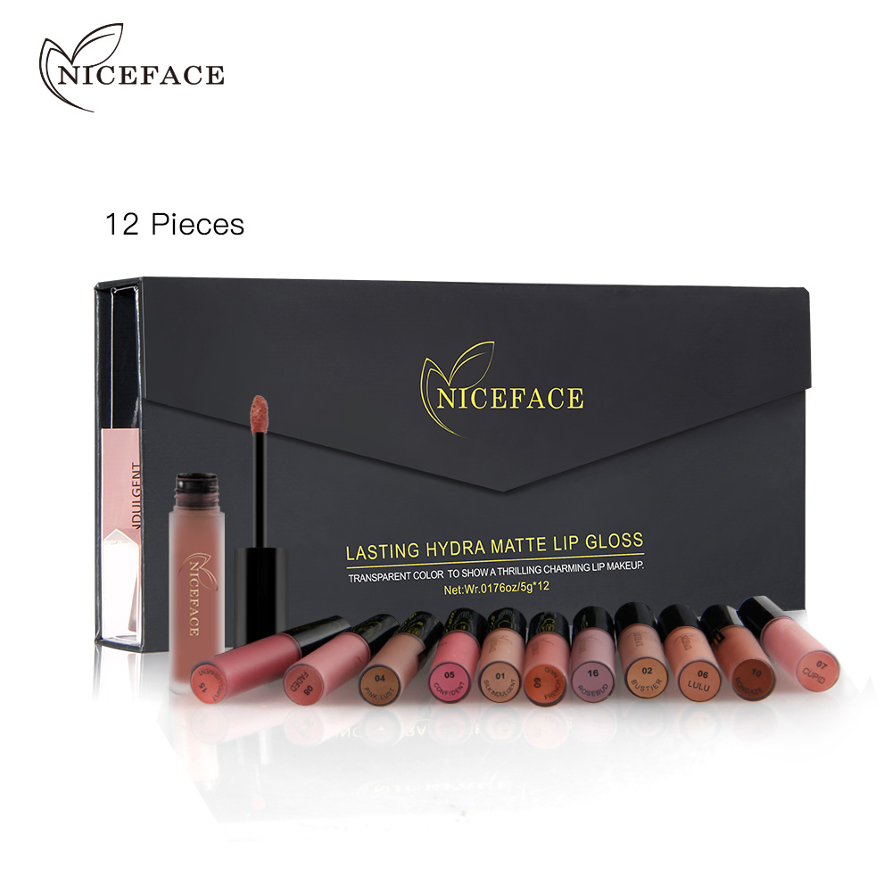 NICEFACE 12 pçs/set Fosco Long-Lasting Lipstick 12 Cores Lip Gloss Labial À Prova D' Água vara 5gx12 Beleza Maquiagem Lábios Batom BLWS