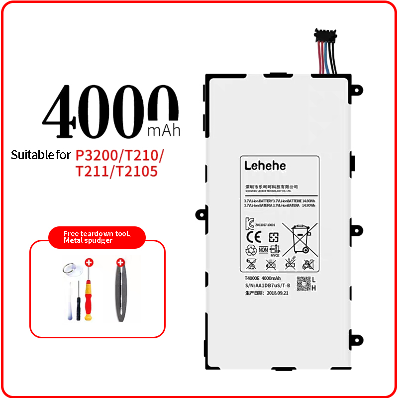 LEHEHE <font><b>T4000E</b></font> battery for Samsung tablet P3200 T210 T211 T2105 High Capacity 4000mAh with Free dismantling tools image