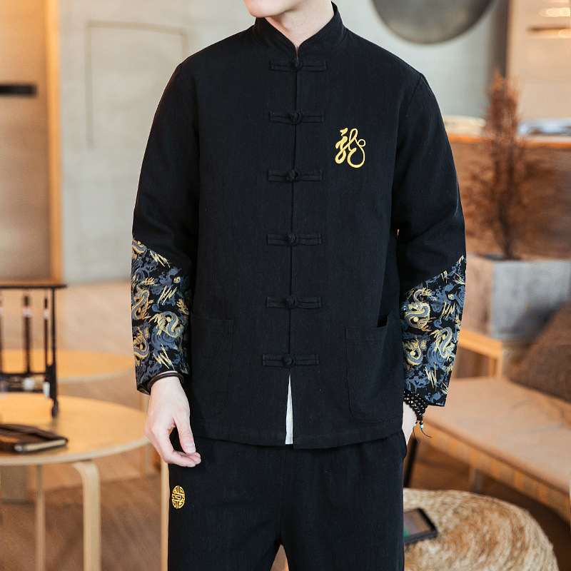 Chinese-style 2019 Autumn Chinese Costume Cotton Linen Set Men's Ci Xiu Kuan Dragon Frog Flax Frog Stand Collar Chinese Clothing