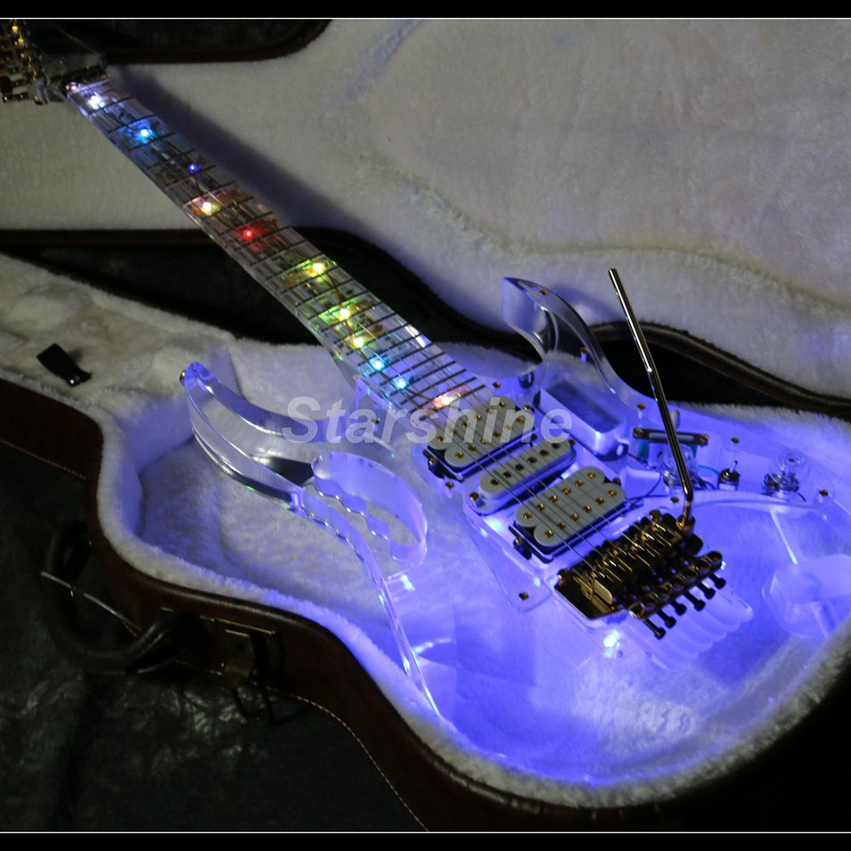 LED Light Electric Guitar L-JK1 7VE Style Full Acrylic Colorful Flash Led Light Crystal Guitar