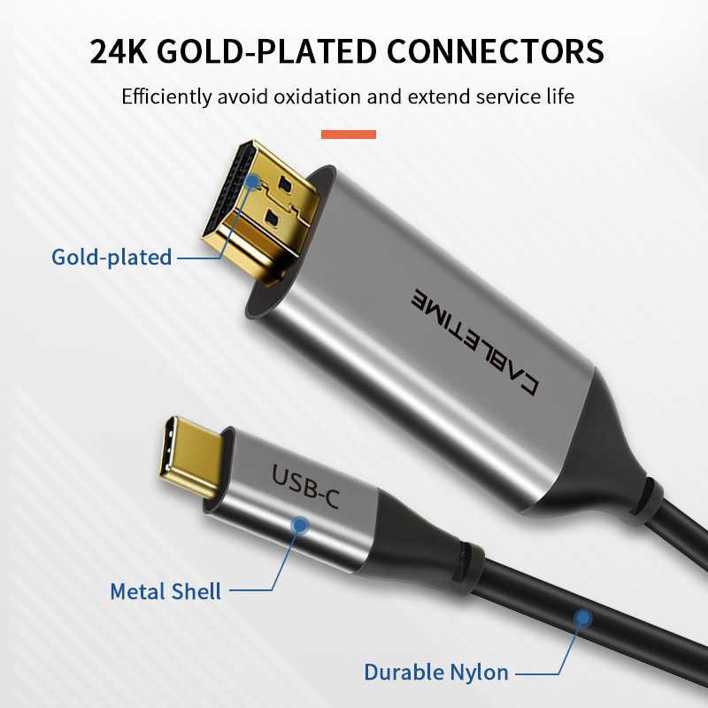 CABLETIME Thunderbolt 3 USB نوع C HDMI كابل يو إس بي سي إلى HDMI محول ل ماك بوك هواوي ماتي 30 برو USB-C محول hdmi C261