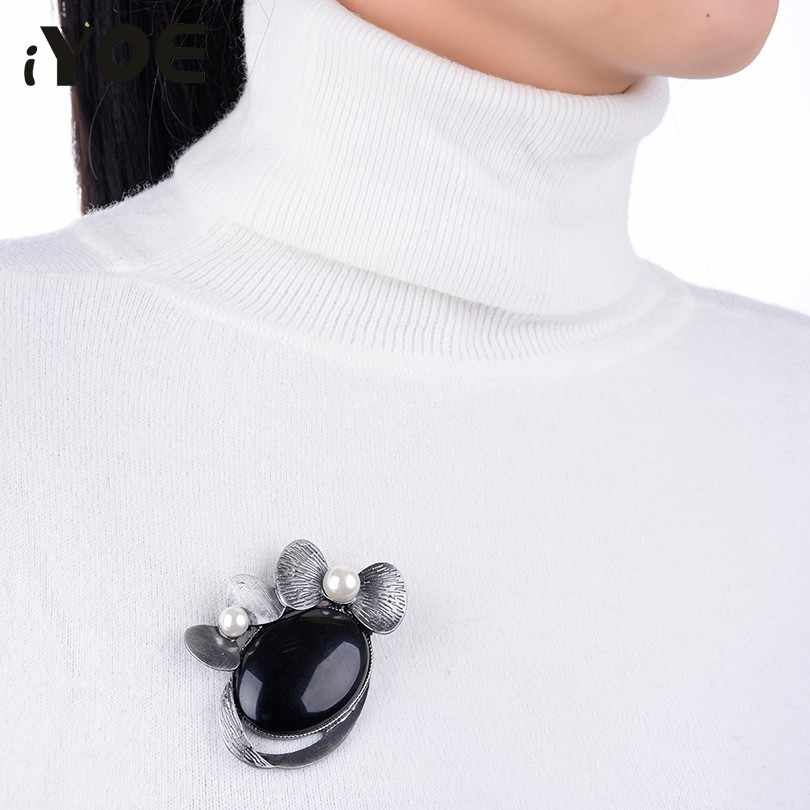 Iyoe Lucu Disimulasikan Mutiara Busur Bros untuk Wanita Wanita Pistol Antik Batu Alam Bros Pin Perhiasan Syal Gaun Aksesoris