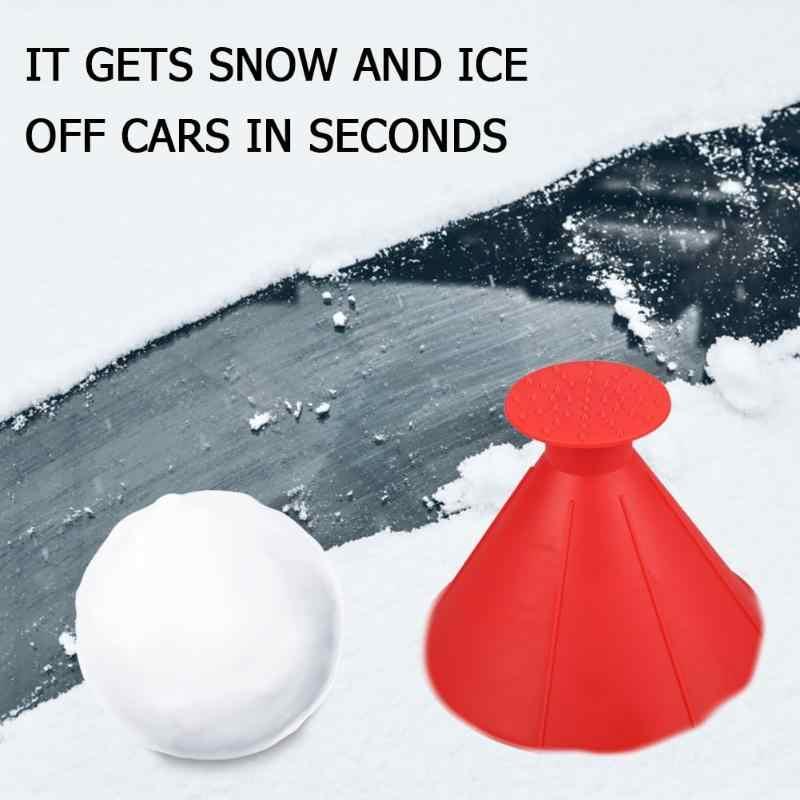 Koni şeklinde buz kazıyıcı otomatik araç ön camı buz kazıyıcı huni araba kar kazıyıcı sökücü pencere Deicing aracı kazıma