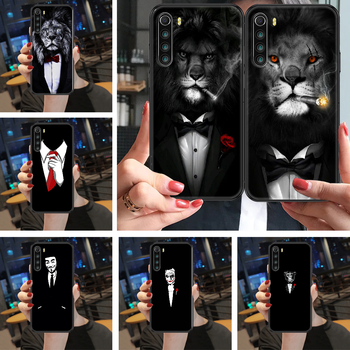 Cool Man Suit Shirt Tie Phone case For Xiaomi Redmi Note 4X 6A 7 7A 8 8T 9 9A 9S 10 K30 Pro Ultra black soft coque luxury back image
