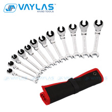 8-19mm Ratchet Flare Nut Wrench Set Metric Full Sizes 12 pcs Flex Head Oil Pipe Wrench Tubing Ratcheting Spanner Mirror Polished