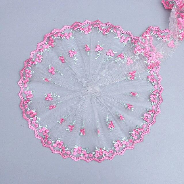 2Y 3D flor encaje tejido bordado cinta para ajuste, cordón boda DIY de coser accesorios para manualidades
