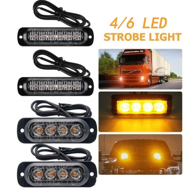 Ultra cienkie światła ostrzegawcze motocykl pickup migające światła 12-24V uniwersalne Ultra cienkie migające światła 4/6led