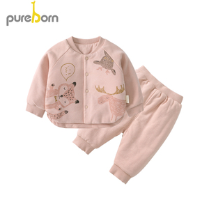 Image 3 - Pureborn Newborn Clothes Set Coat+Pants 2pcs Petal Collar Long Sleeve Thicken Outfits Toddler Boys Girls Suits Spring Winter