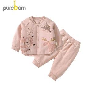 Image 3 - Pureborn conjunto de roupas para recém nascidos, casaco + calça, 2 peças, gola pétala, manga comprida, roupas grossas para criança, meninos e meninas, primavera inverno