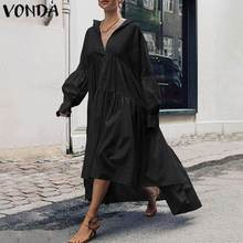 Autumn Sundress Women Dress Plus Size VONDA 2021 Vintage Lantern Sleeve Asymmetrical Maxi Long Dress Casual Vestido Loose Robe