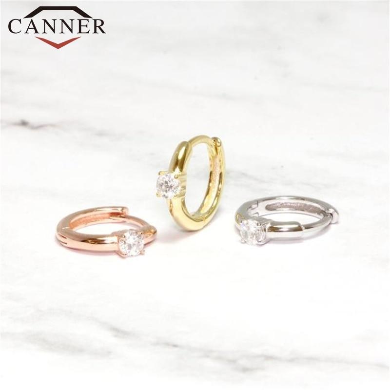 925 Sterling Silver Crystal CZ Hoop Earrings for Women Simple Luxury Circle Zircon Earring Gold Silver Fashion Jewelry Wholesale