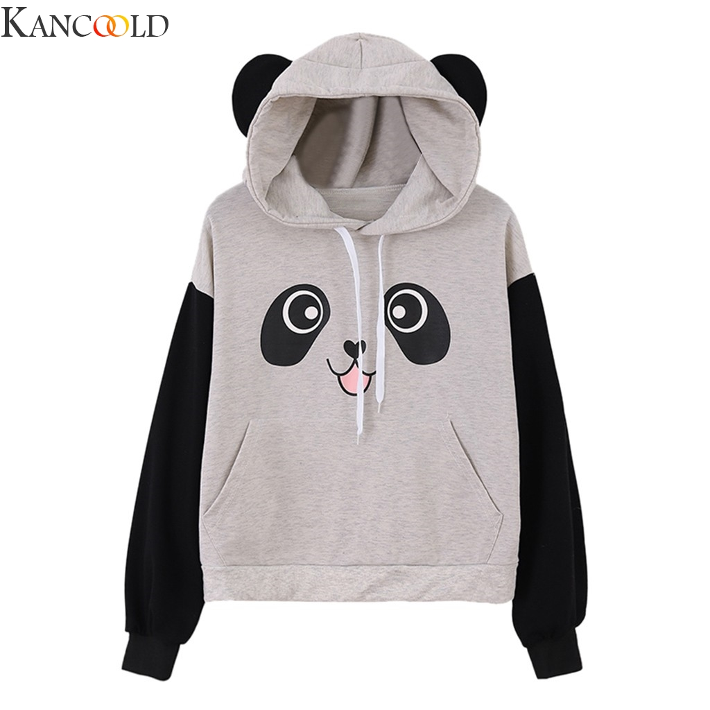 KANCOOLD Bear Ears Crop Women Fleece sweartshirt Hoodies Plush Autumn Winter Warm Pullovers Black Red Long Sleeve Cute Casual