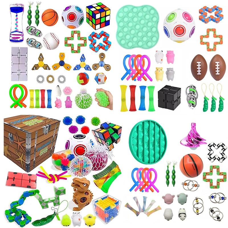 32 шт. пакет Непоседа сенсорные набор игрушек, игрушка для снятия стресса, игрушки аутизм, тревожность снятия стресса поп-пузырь Непоседа сен...