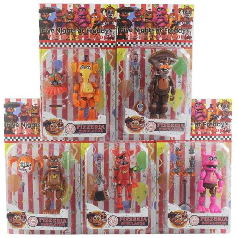 Five Nights At Freddy Action Figure Toy FNAF Bonnie Foxy Freddy Fazbear Bear Dolls Toys DIY Assembly