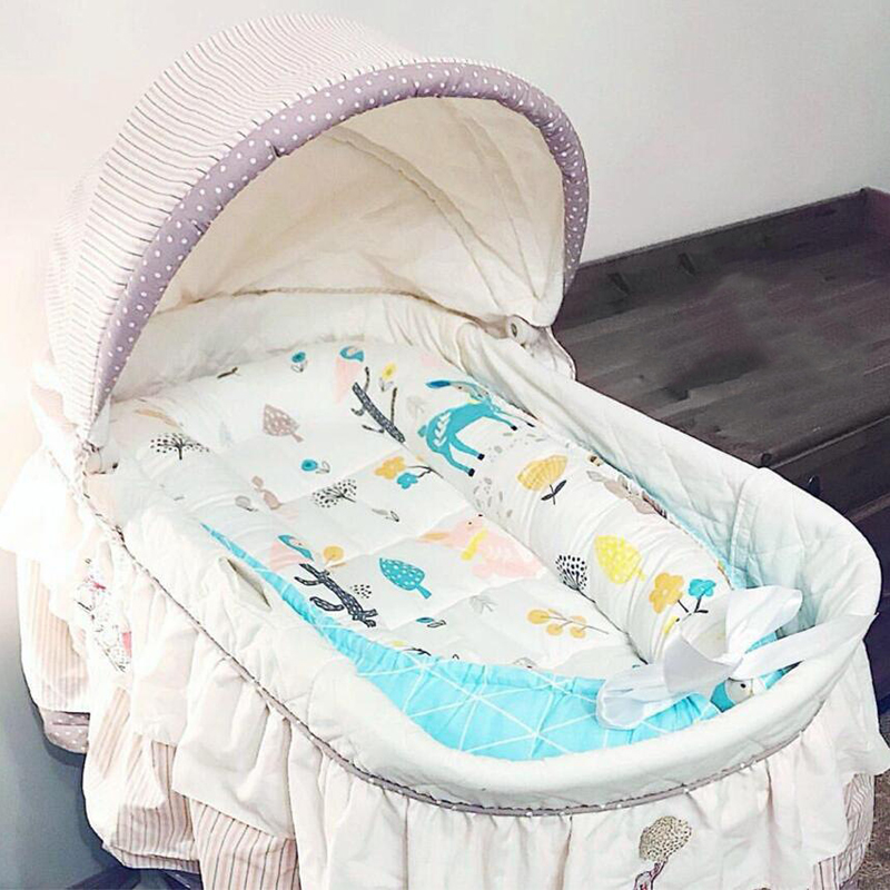 Infant Portable Crib Bed Travel Crib Baby Cot Sleeping Sleep Basket For Stroller Bed Safety Protection Cushion