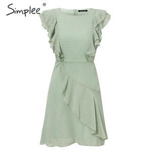 Image 5 - Simplee フリル o ネック半袖夏ドレス女性ノースリーブカジュアル A ライン女性のドレスハイウエストストライプの女性ミニドレス 2020