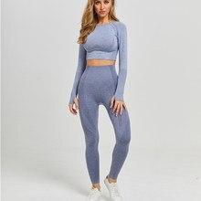 Conjunto de yoga sem costura, roupa para esporte, fitness, academia, top cropped, blusa manga longa, legging de cintura alta, calça de corrida e treino