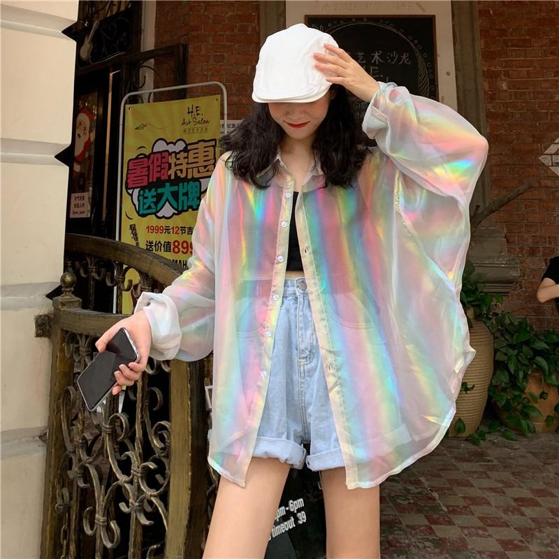 vintage transparent blouses womens Harajuku rainbow ladies tops and plus size loose shirts chemisier femme