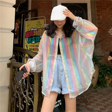 vintage transparent blouses womens Harajuku rainbow ladies tops and plus size loose shirts chemisier femme