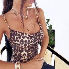 Impreso leopardo dama Sexy Tops de verano para mujeres Fitness deportiva de Metal de oro de correas de cadena camisetas camiseta D30