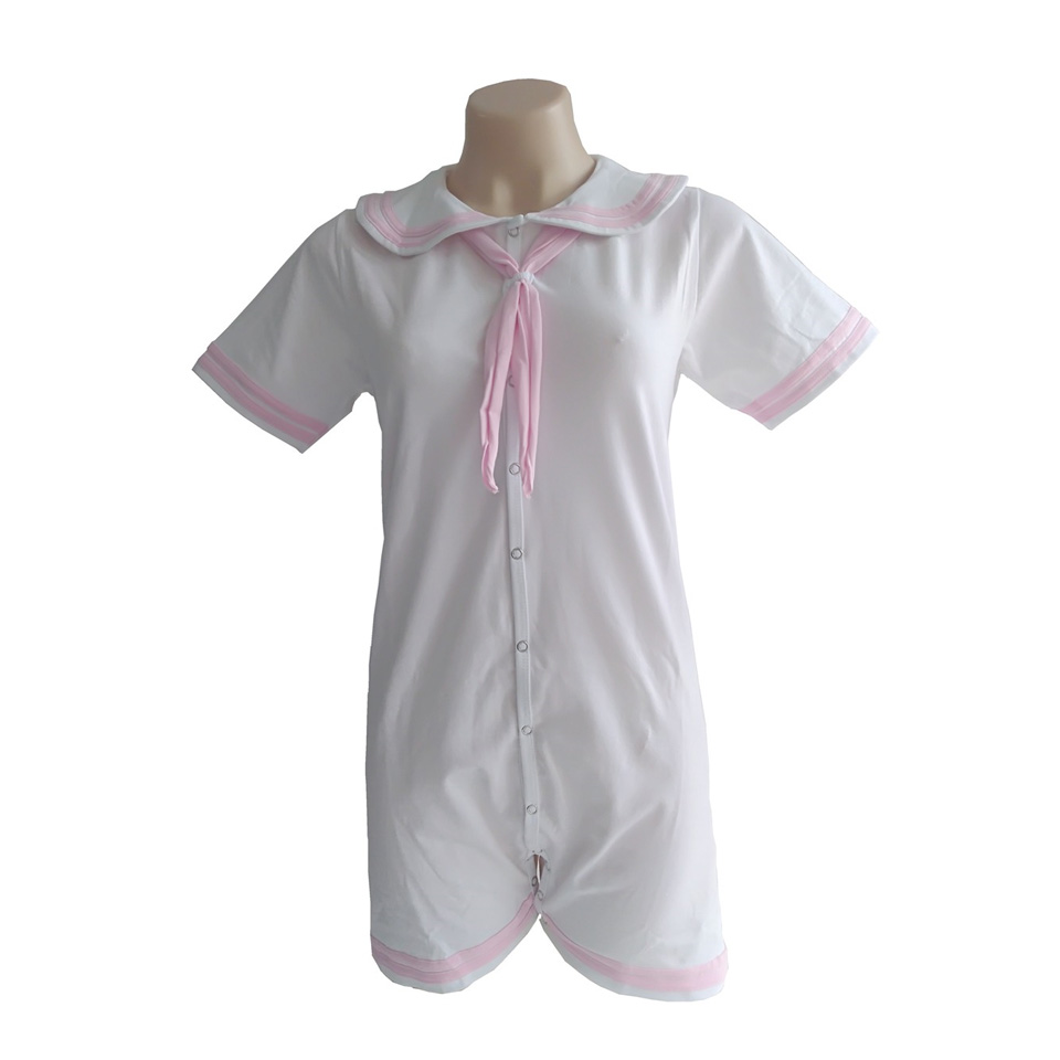 ABDL onesie cotton pink sailor suit adult baby crawling bodysuit baby romper for lovers for girl