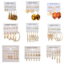 ZORCVENS New Gold Acrylic Stud Earrings Set For Women Color Simulated Pearl Crystal Earring Female Fashion Jewelry