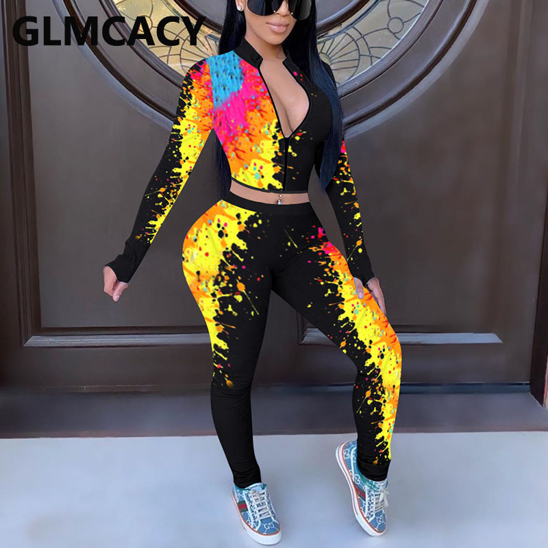 Women Colorful Printed Two Piece Tracksuits Long Sleeve Sweatshirt and Pants Set
