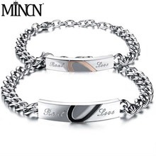 MINCN Mens Bracelet Womens Stainless Steel Couple Can Extend Chain Jewelry Personality Lettering Gift