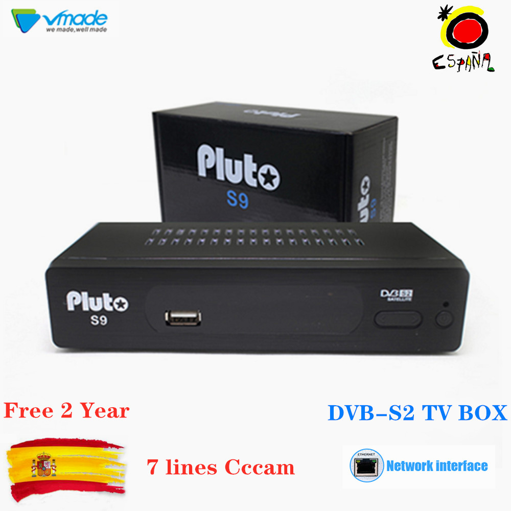 Vmade DVB S2 Pluto S9 H.264 Free Satellite TV Decoder Support Cccam IPTV Built-in RJ45 Network IKS Satellite Receiver For Spain