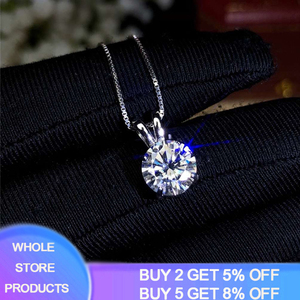 YANHUI Solitaire 8mm 2ct Zirconia Diamond Pendant Necklace 925 Solid Silver Choker Statement Necklace Women Silver 925 Jewelry
