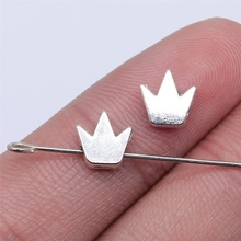 Crown-Beads Jewelry-Findings Antique WYSIWYG 20pcs for DIY 8x7mm Silver-Color