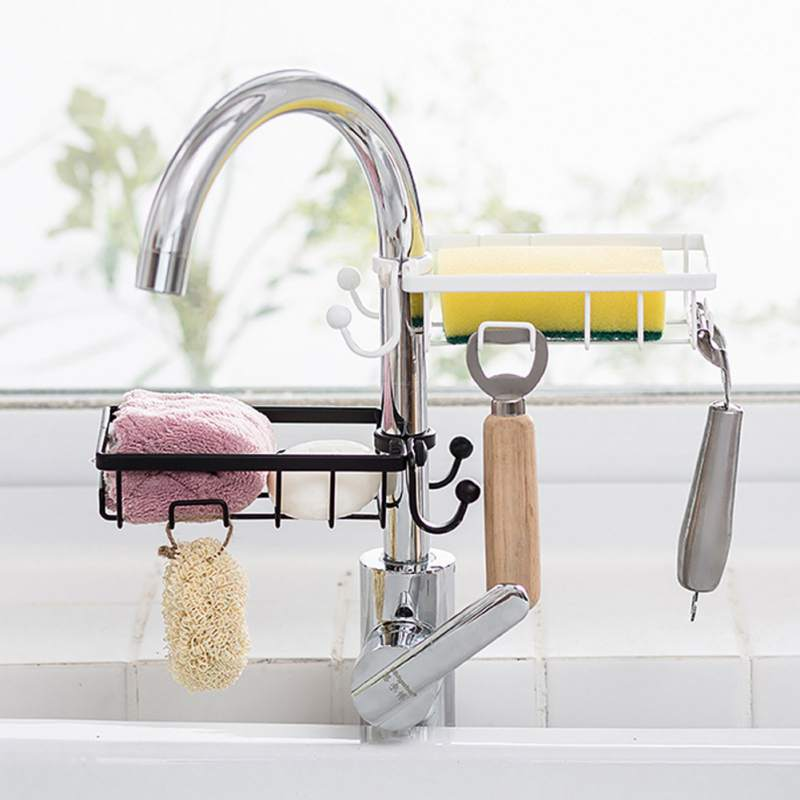 Bathroom Sink Hanging Punch Faucet Storage Hollow Out Shelves Free Kitchen Drain Storage Rack Organizer Home Accessories