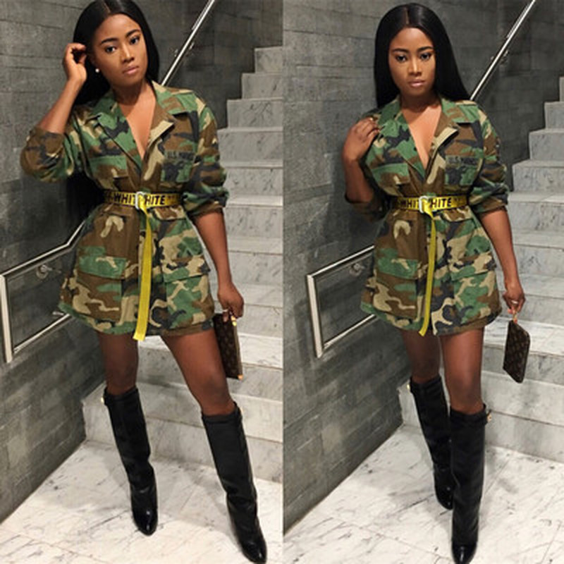 Loose Camouflage Coat Women Turn-Down Collar Pocket Long Sleeve Button Up Casual Army Green Military Outwear Jacket