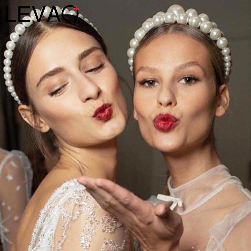 LEVAO Western Style Fashion Pearl Headbands Bezel Turban Women Elegant Non-slip Hairbands Girls Hair Hoop Accessories Headwear