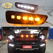 цена на 2 Pcs DRL LED Daytime Running Lights Fog Lamp For Ford Raptor SVT F150 2016 2017 2018 with Turn Signal Yellow style relay
