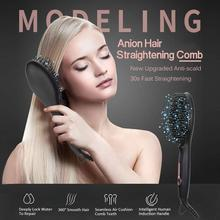 portable size handheld hair straight electric brush professional lcd display fast hair straightener comb Anion straight hair comb LCD screen display CNC constant temperature electric splint ceramic hair straightener curler