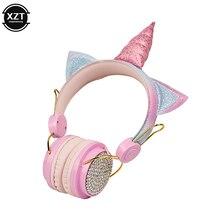 חמוד Unicorn Wired אוזניות עם מיקרופון בנות Daugther מוסיקה סטריאו 3.5mm אוזניות עבור IPhone X מחשב אוזניות ילדי מתנה