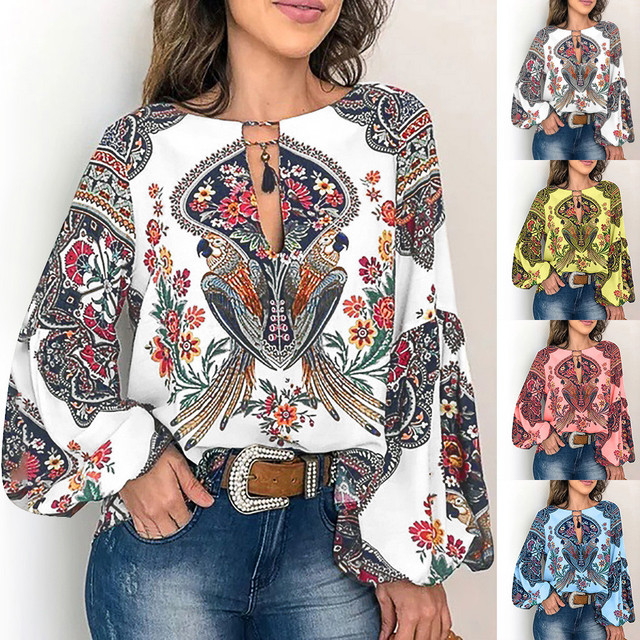 Womens Designer Inspired Bowknot Puff Sleeve Blouse Shirt Floral Hollow Out Tops