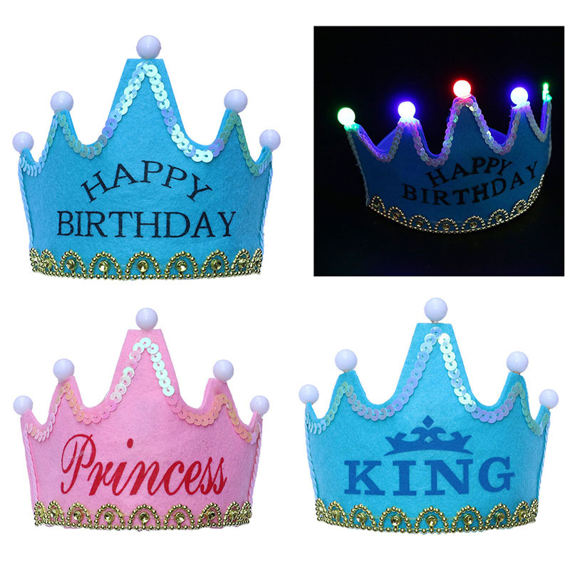 Birthday Crown Luminous Toys Children Prince Princess Party Glitter Cake Birthday Hat Pearl Letters